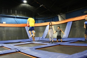 Like trampoline dodgeball! (seriously, I went...it's awesome)