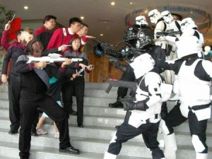 Although, come on. The Star Trek folk would totally win this battle. Have you seen a storm trooper shoot?