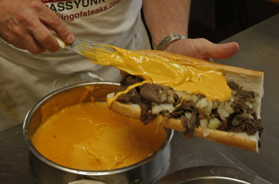 Apparently a proper philly cheesesteak is done with Cheez whiz. I say it just ruins good steak.